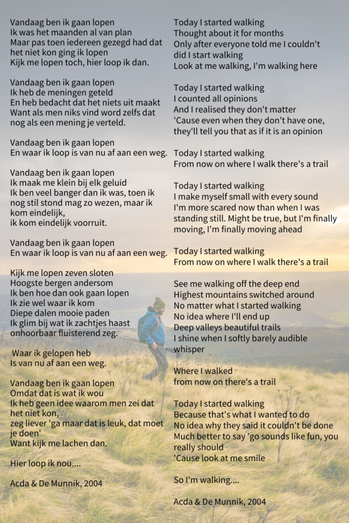 Original lyrics and translation of 'Vandaag ben ik gaan lopen' by Acda & De Munnik, 2004. Image by Sonja Guina via Stocksnap